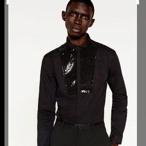 Zara man sequin button down tuxedo style shirt
